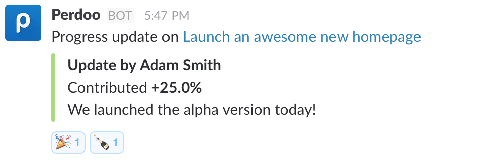 Reacting on progress updates in Slack